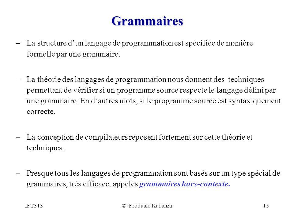 Grammaires La structure d'un langage de programmation est spécifiée de manière formelle par une grammaire.