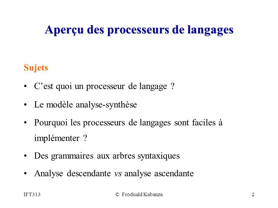 Aperçu des processeurs de langages