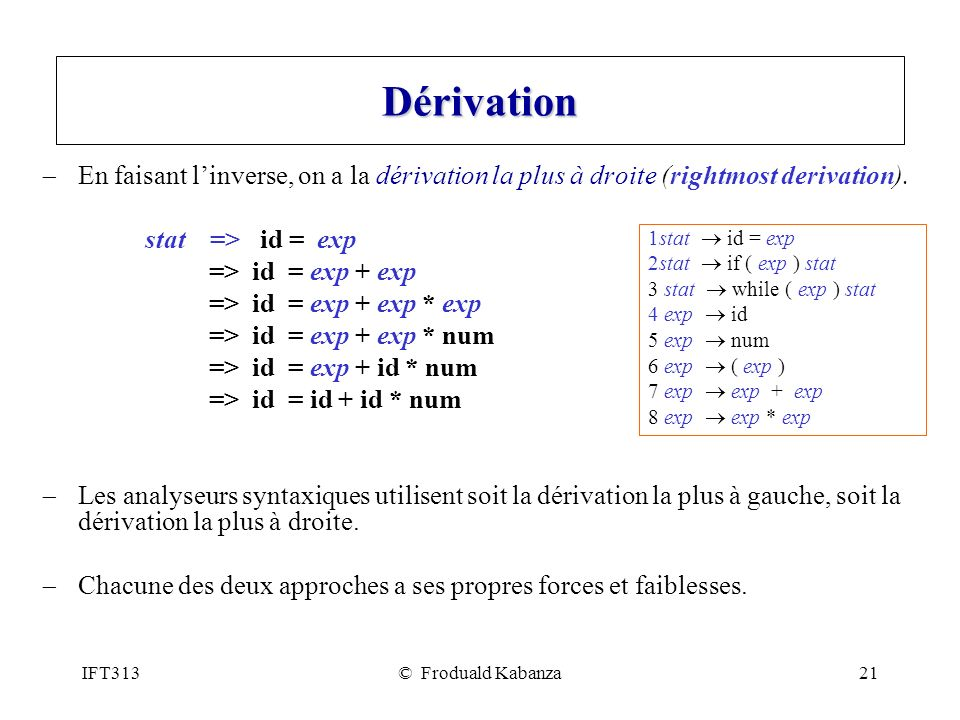 Dérivation En faisant l'inverse, on a la dérivation la plus à droite (rightmost derivation). stat => id = exp.