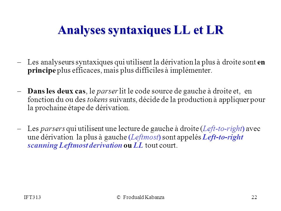 Analyses syntaxiques LL et LR