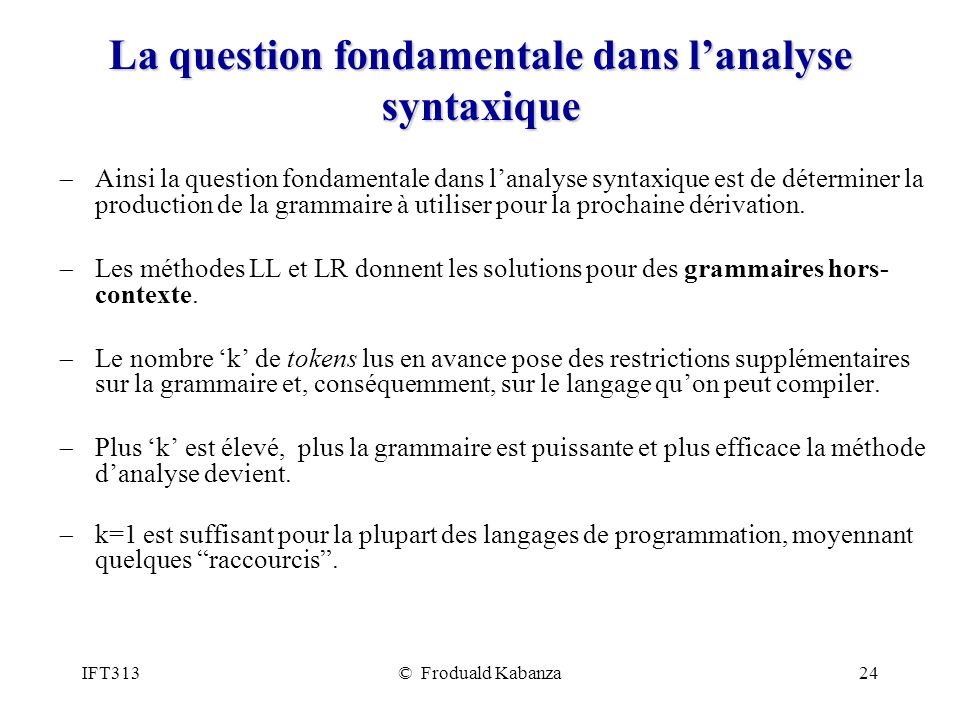 La question fondamentale dans l'analyse syntaxique