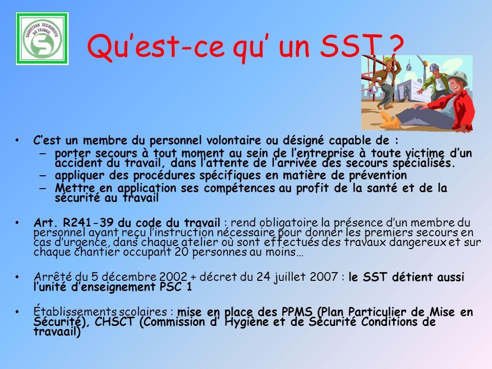 Qu'est-ce qu' un SST C'est un membre du personnel volontaire ou désigné capable de :
