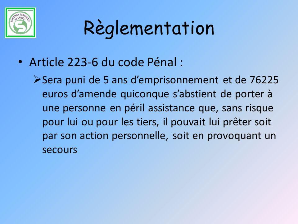 Règlementation Article 223-6 du code Pénal :