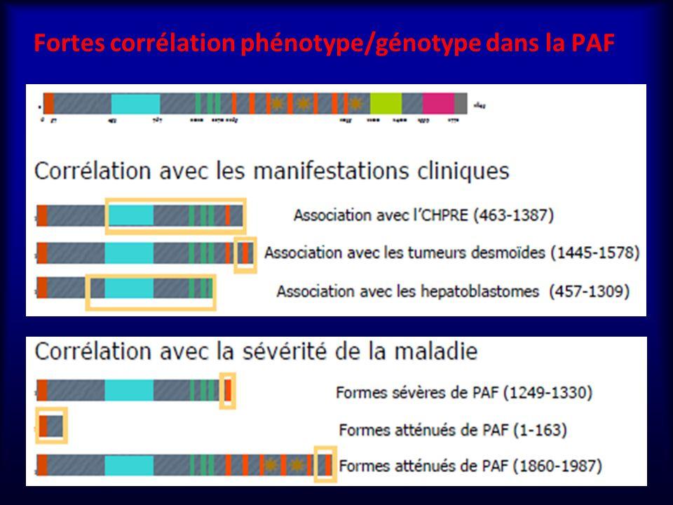 Fortes corrélation phénotype/génotype dans la PAF