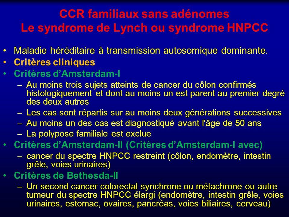 CCR familiaux sans adénomes Le syndrome de Lynch ou syndrome HNPCC