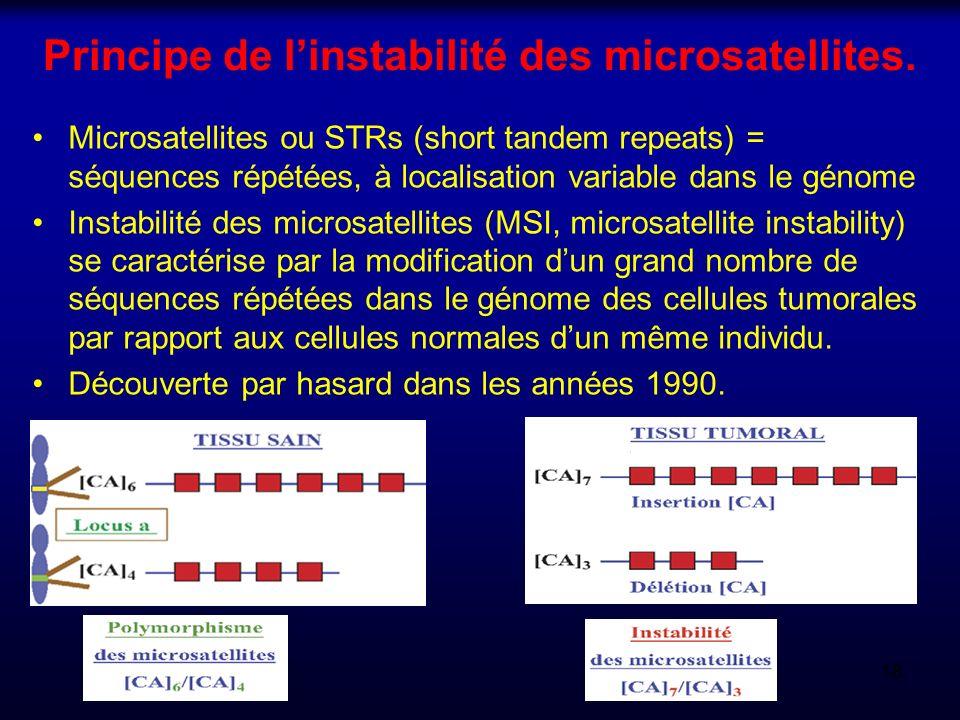 Principe de l'instabilité des microsatellites.
