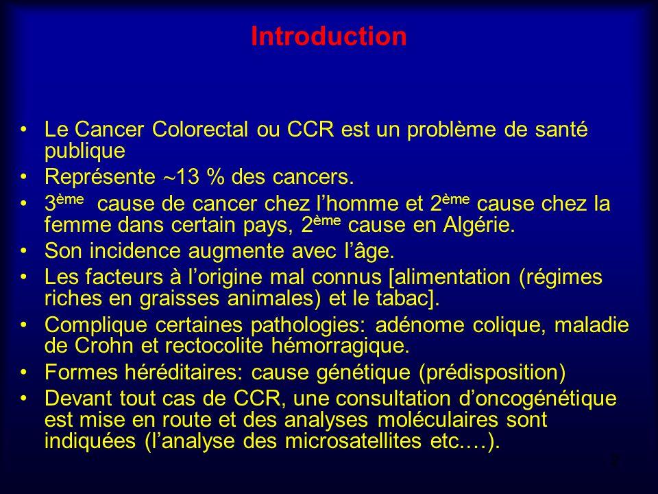 Introduction Le Cancer Colorectal ou CCR est un problème de santé publique. Représente ~13 % des cancers.