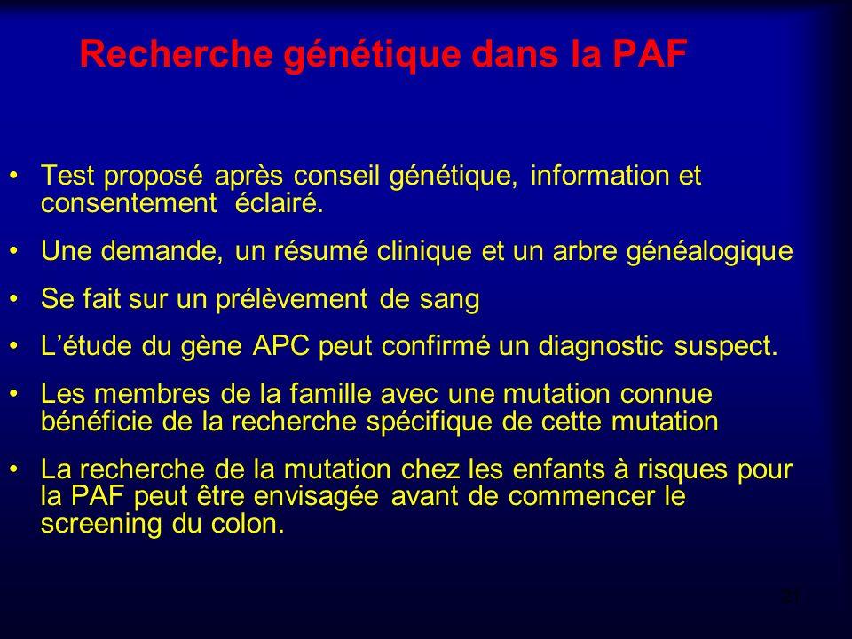 Recherche génétique dans la PAF