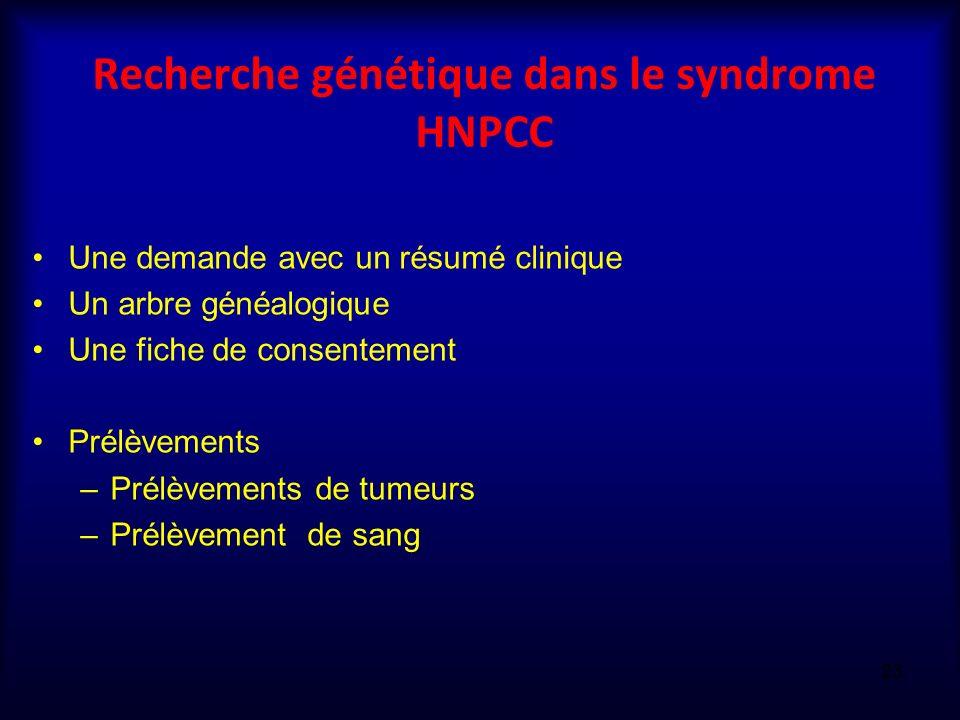 Recherche génétique dans le syndrome HNPCC