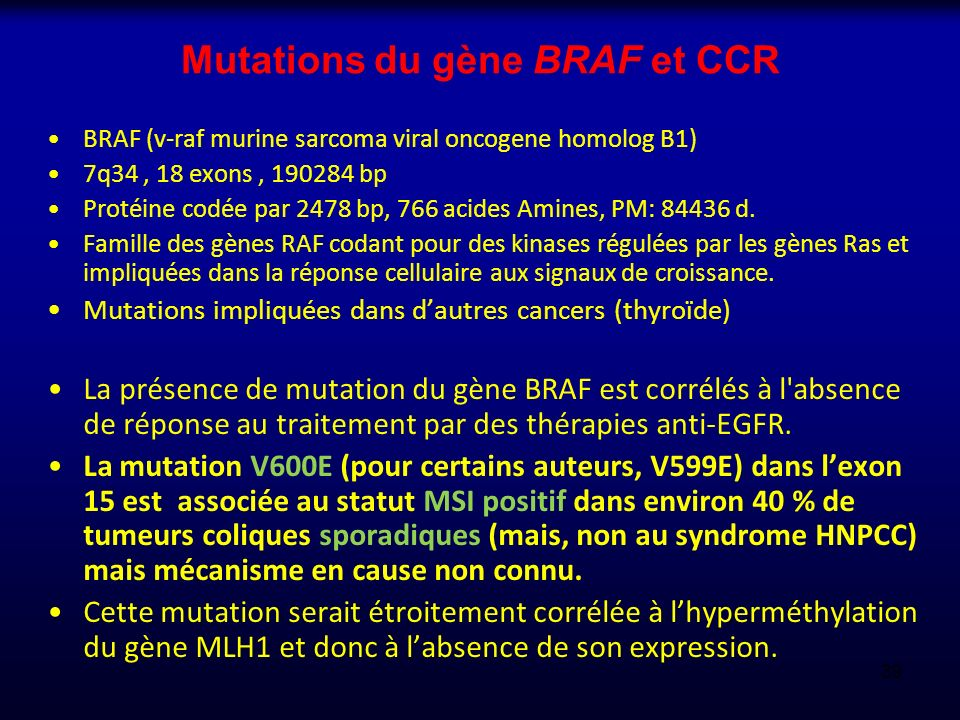 Mutations du gène BRAF et CCR
