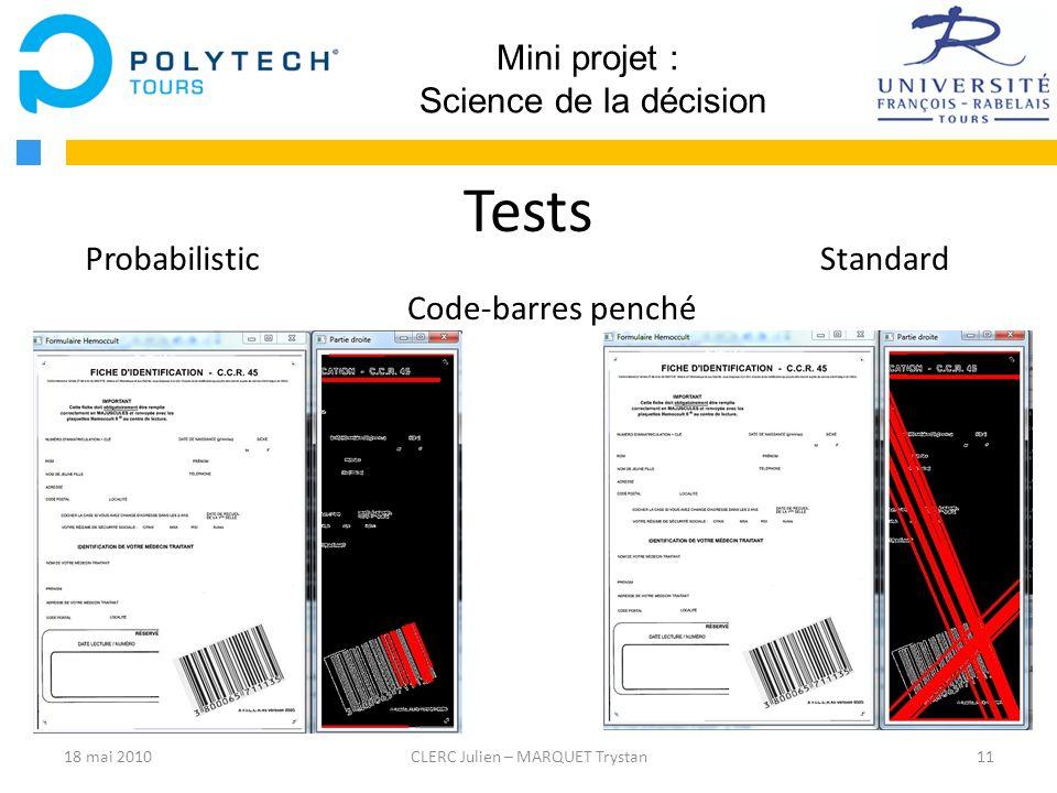 Tests Mini projet : Science de la décision Probabilistic Standard