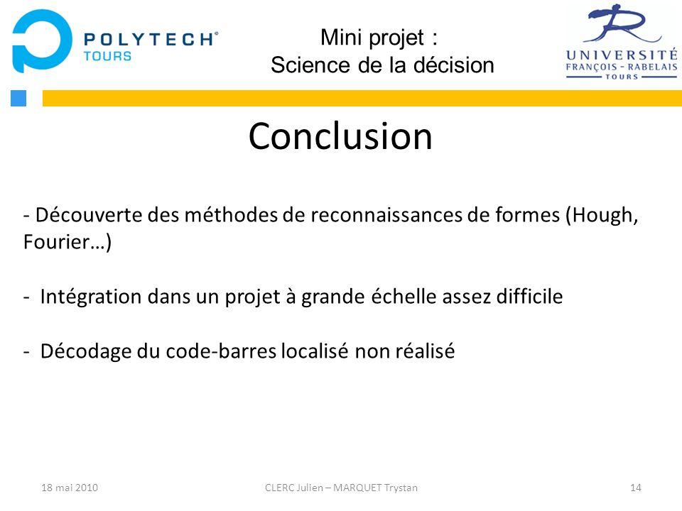 Conclusion Mini projet : Science de la décision