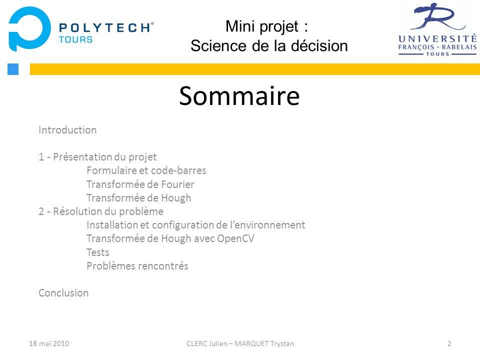 Sommaire Mini projet : Science de la décision Introduction