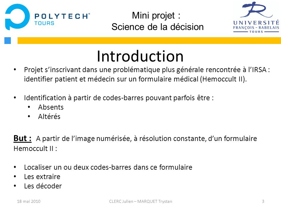 Introduction Mini projet : Science de la décision