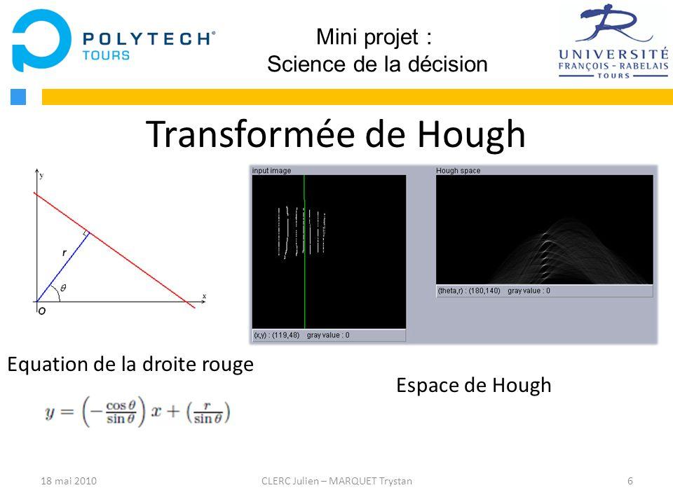 Transformée de Hough Mini projet : Science de la décision