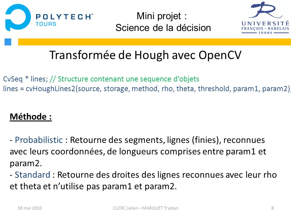 Transformée de Hough avec OpenCV