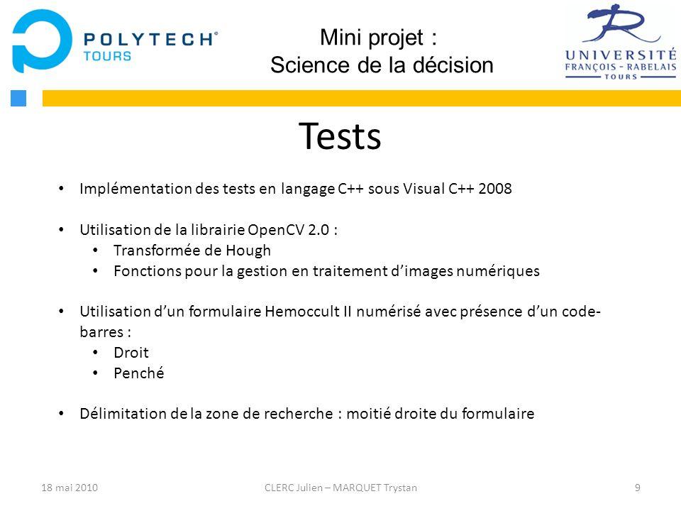 Tests Mini projet : Science de la décision