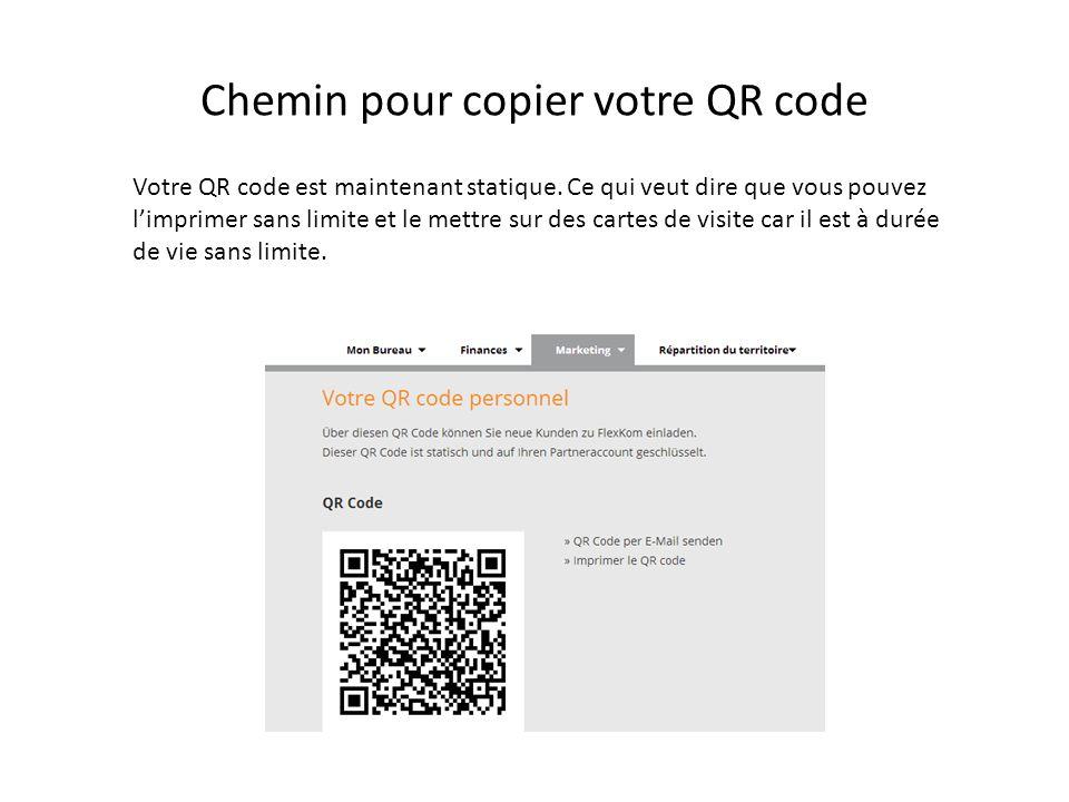 Chemin pour copier votre QR code