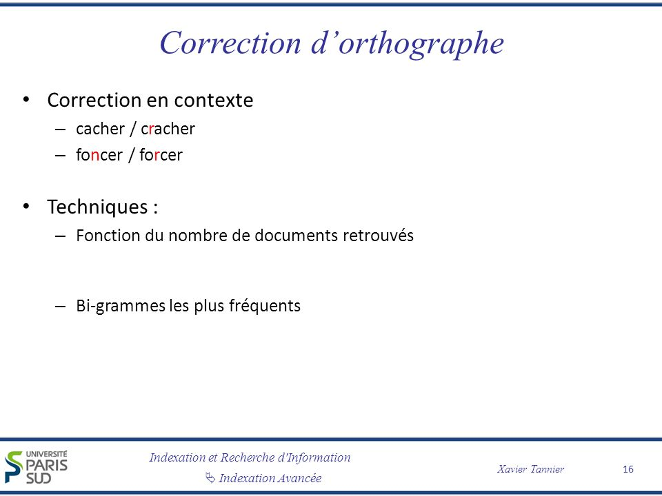 Correction d'orthographe