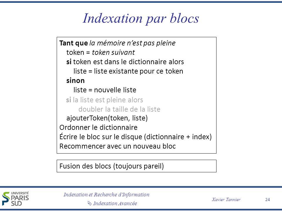 Indexation par blocs Tant que la mémoire n'est pas pleine