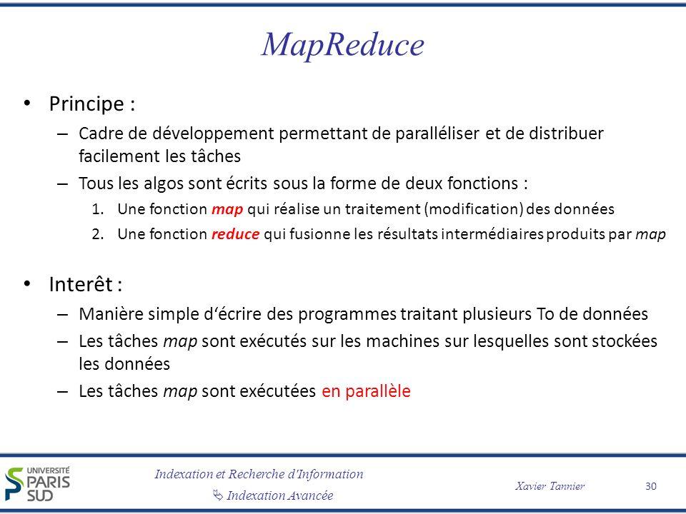 MapReduce Principe : Interêt :