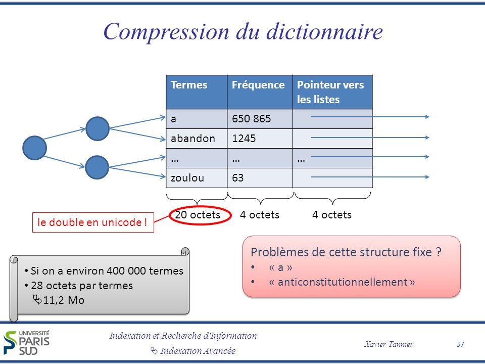 Compression du dictionnaire