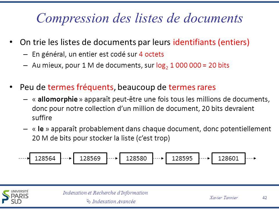 Compression des listes de documents