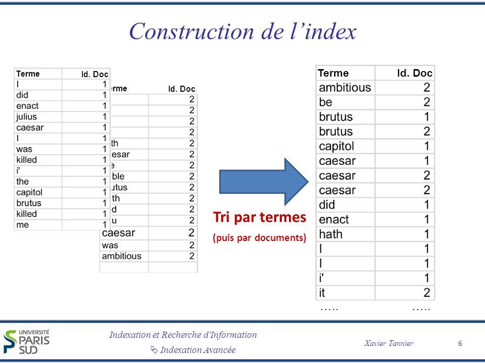 Construction de l'index