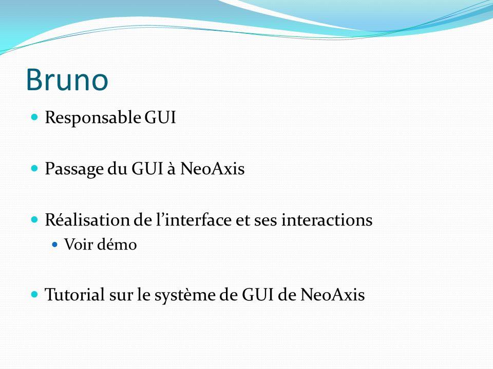 Bruno Responsable GUI Passage du GUI à NeoAxis