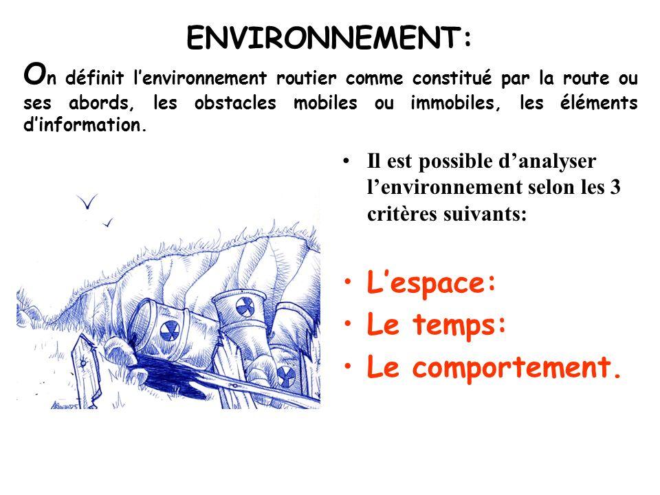 ENVIRONNEMENT: On définit l'environnement routier comme constitué par la route ou ses abords, les obstacles mobiles ou immobiles, les éléments d'information.