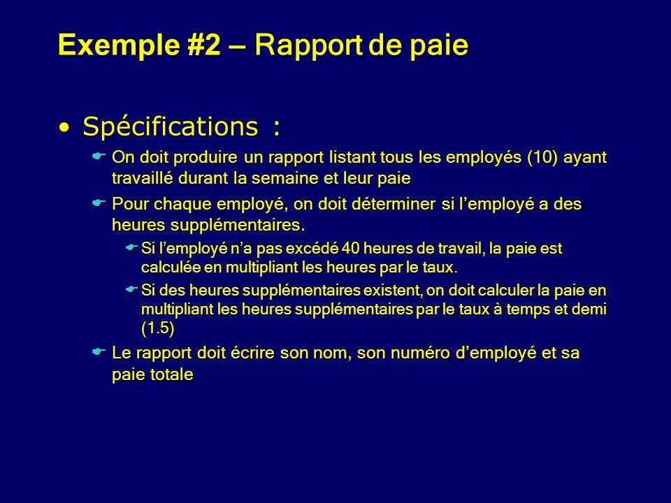 Exemple #2 – Rapport de paie