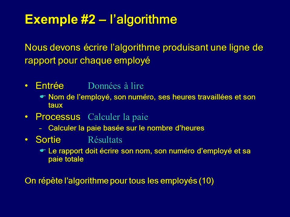Exemple #2 – l'algorithme