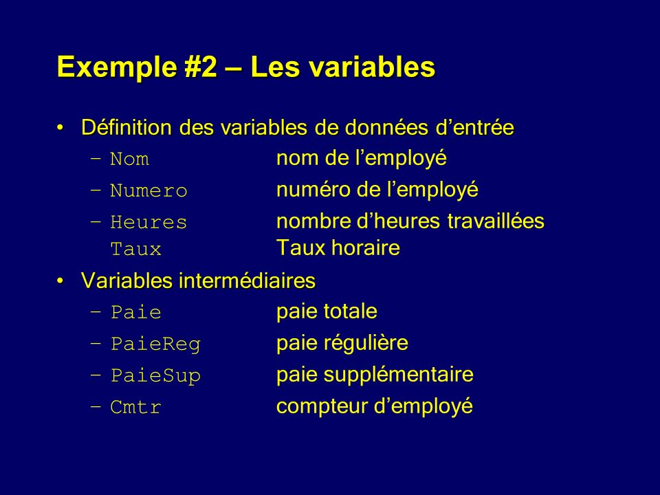 Exemple #2 – Les variables