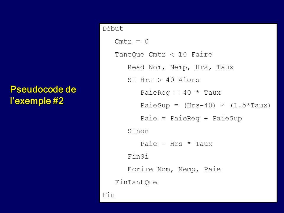 Pseudocode de l'exemple #2
