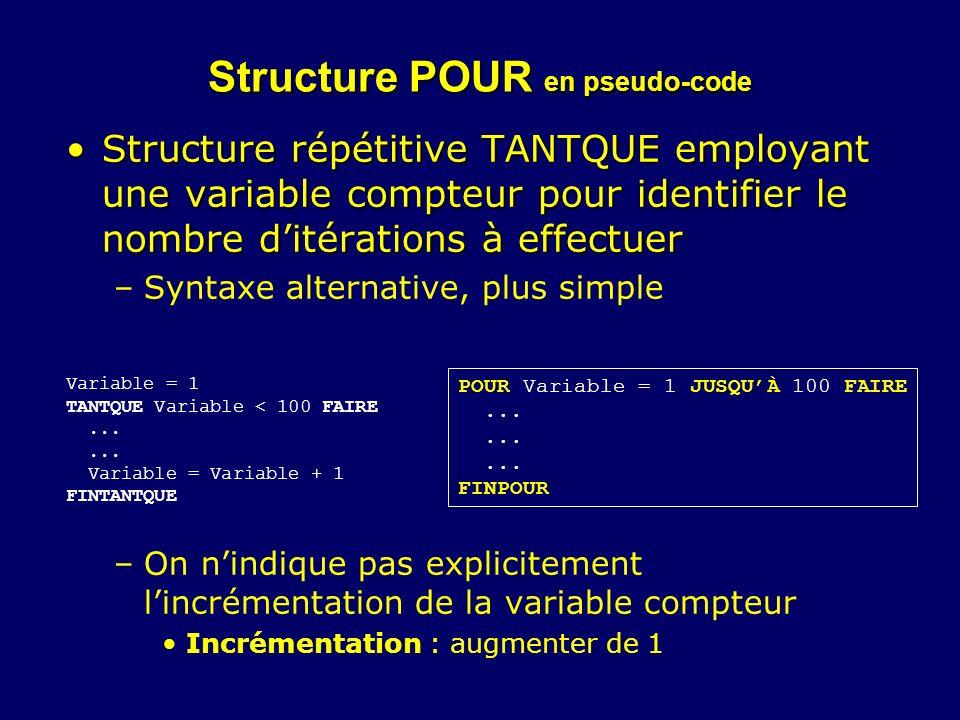 Structure POUR en pseudo-code