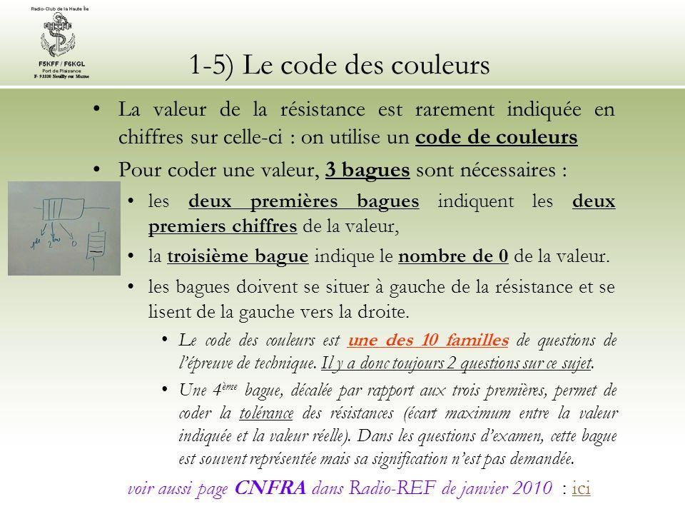 1-5) Le code des couleurs La valeur de la résistance est rarement indiquée en chiffres sur celle-ci : on utilise un code de couleurs.