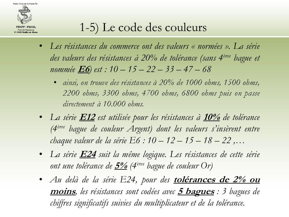 1-5) Le code des couleurs