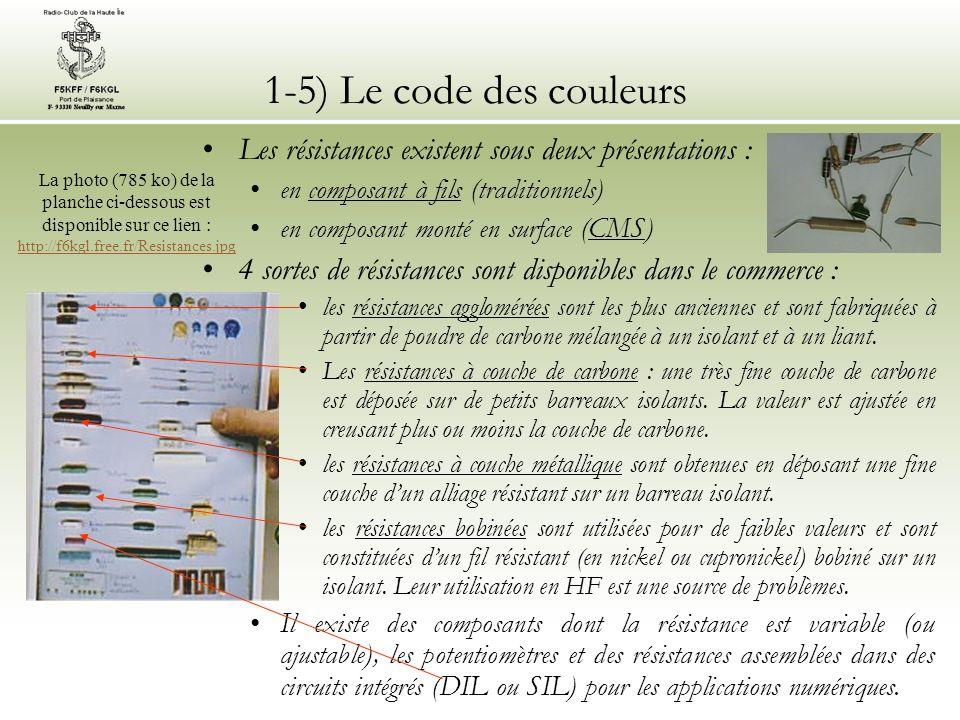 1-5) Le code des couleurs Les résistances existent sous deux présentations : en composant à fils (traditionnels)