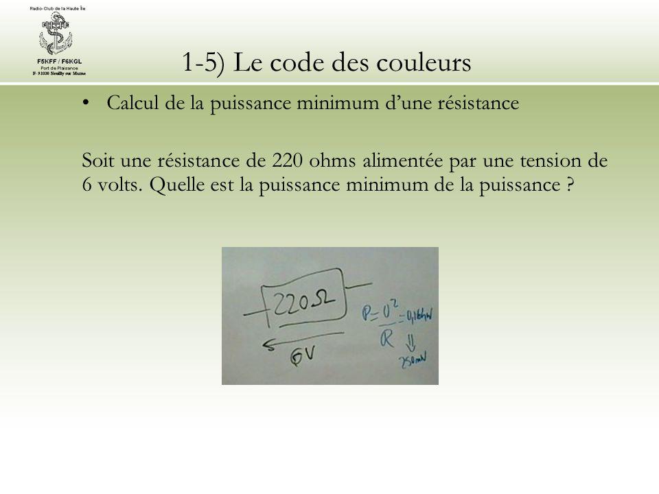 1-5) Le code des couleurs Calcul de la puissance minimum d'une résistance.