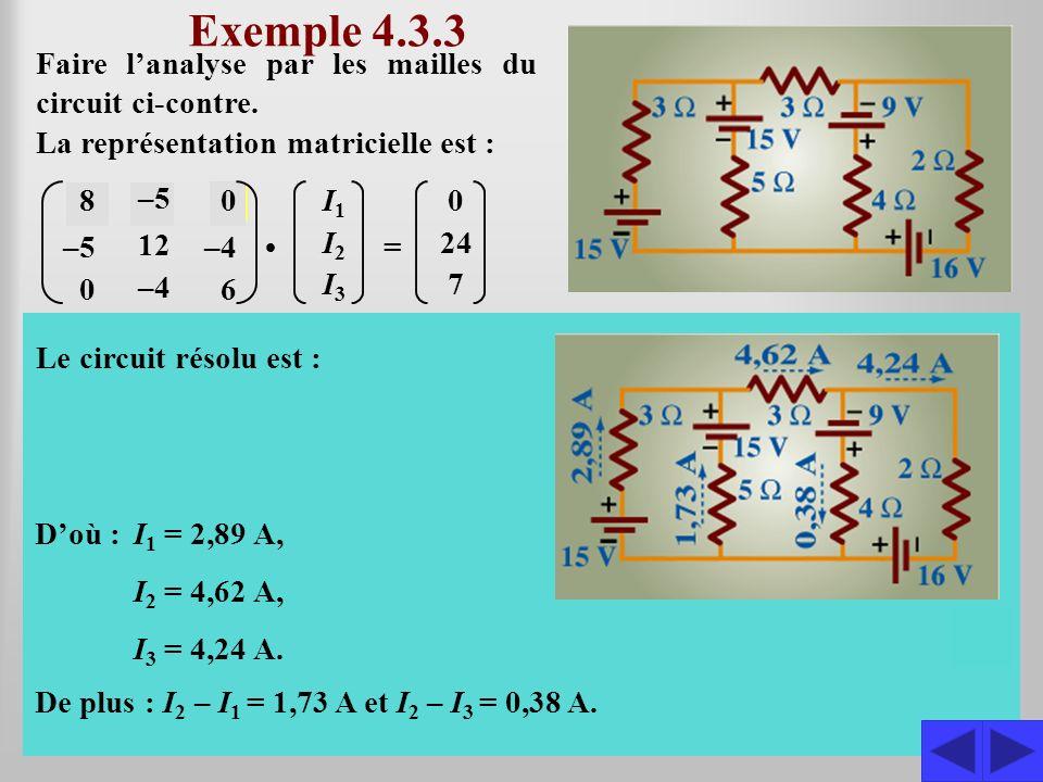 Exemple 4.3.3 Faire l'analyse par les mailles du circuit ci-contre. La représentation matricielle est :