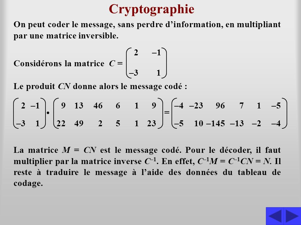 Cryptographie On peut coder le message, sans perdre d'information, en multipliant par une matrice inversible.