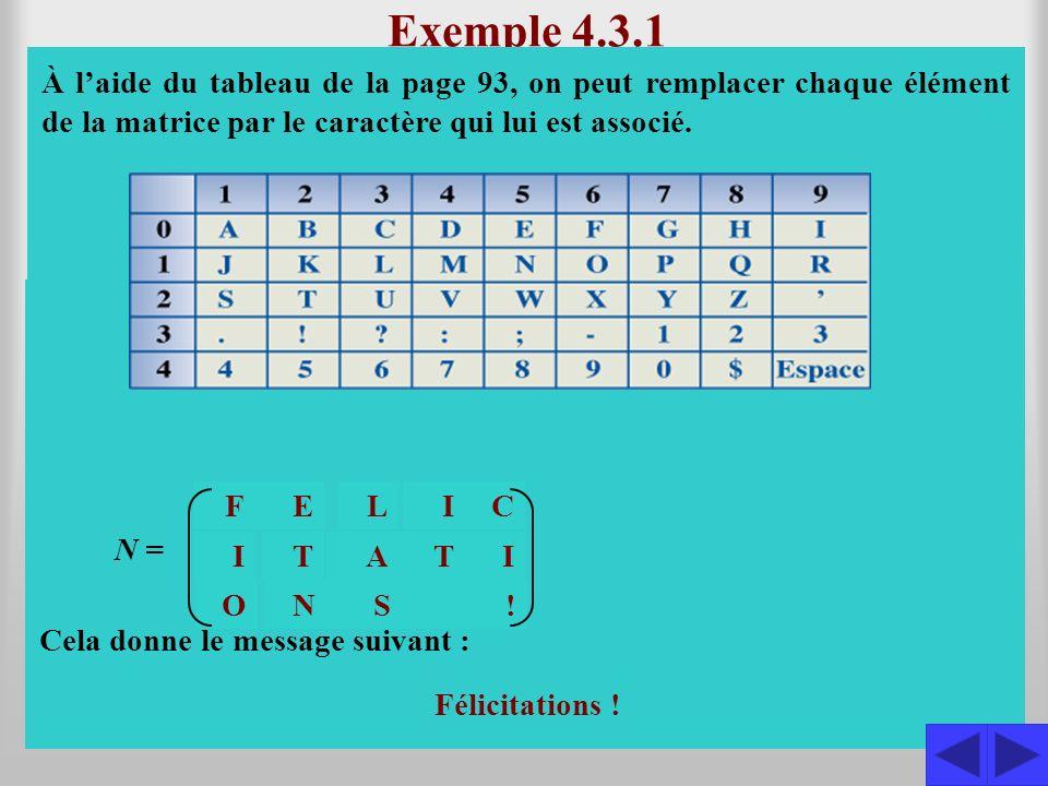 Exemple 4.3.1 Le message consigné dans la matrice M a été codé à l'aide du tableau de la page 93 et de la matrice C. Décoder ce message.