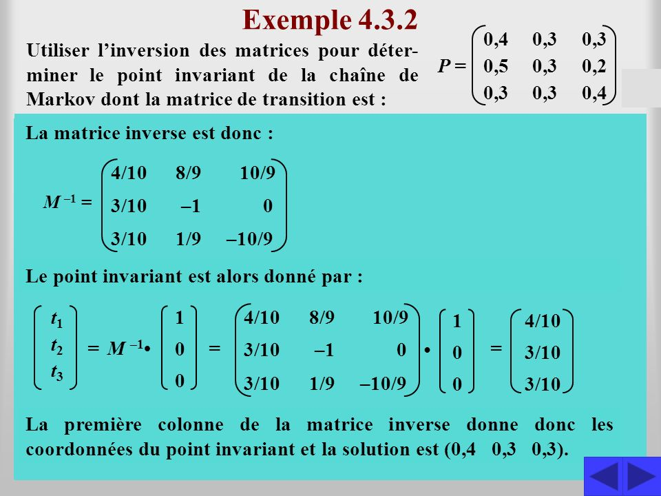 Exemple 4.3.2 0,4. 0,3. 0,5. 0,2. P =