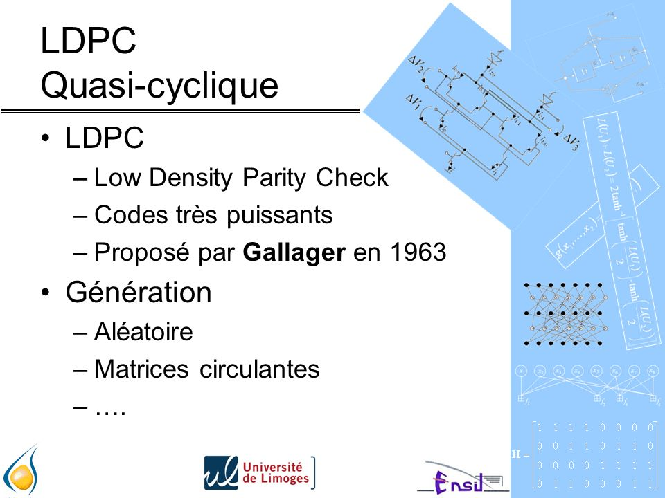 LDPC Quasi-cyclique LDPC Génération Low Density Parity Check