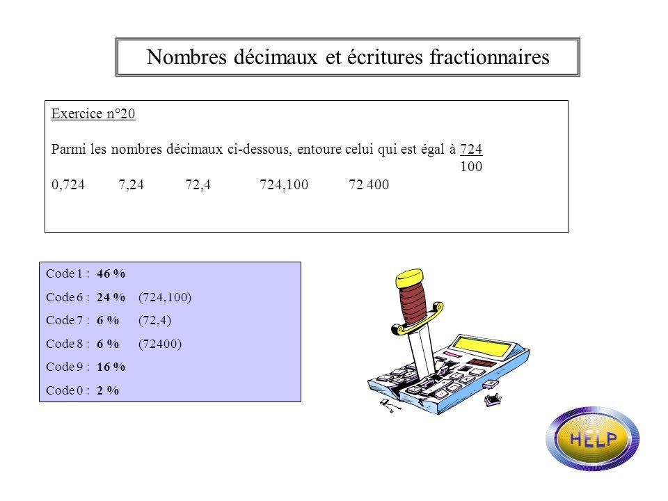 Nombres décimaux et écritures fractionnaires