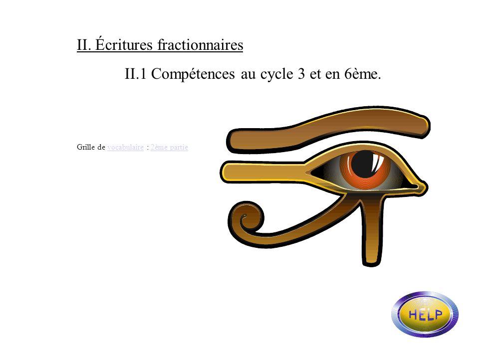 II. Écritures fractionnaires II.1 Compétences au cycle 3 et en 6ème.
