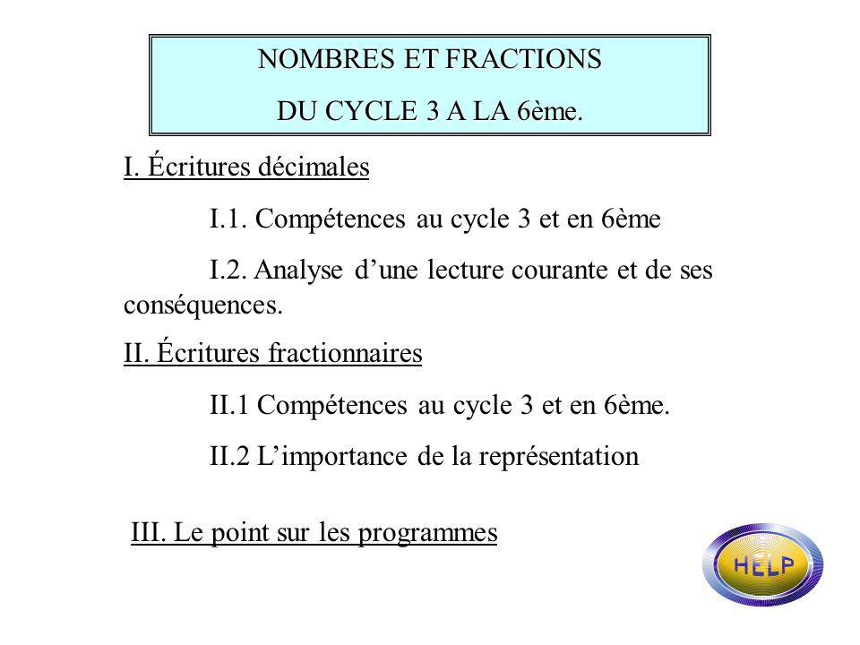NOMBRES ET FRACTIONS DU CYCLE 3 A LA 6ème. I. Écritures décimales. I.1. Compétences au cycle 3 et en 6ème.