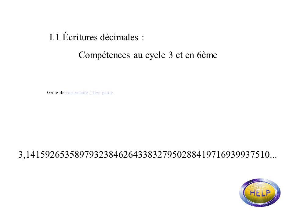 I.1 Écritures décimales : Compétences au cycle 3 et en 6ème