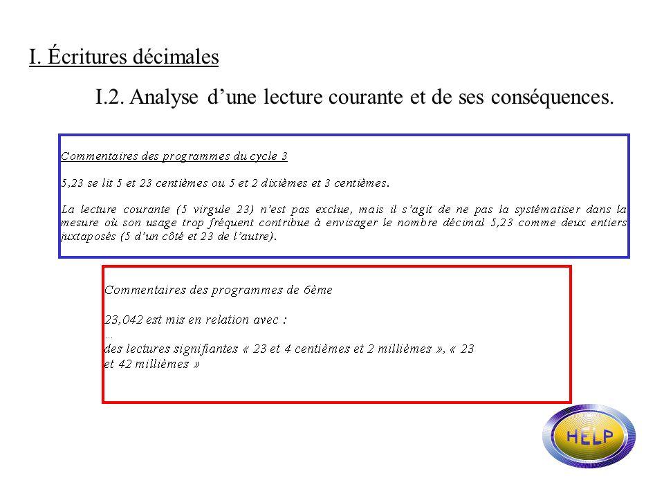 I. Écritures décimales I.2. Analyse d'une lecture courante et de ses conséquences.
