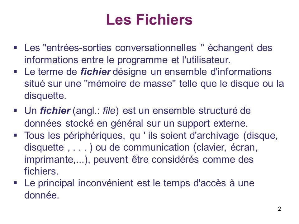 Les Fichiers Les entrées-sorties conversationnelles ' échangent des informations entre le programme et l utilisateur.